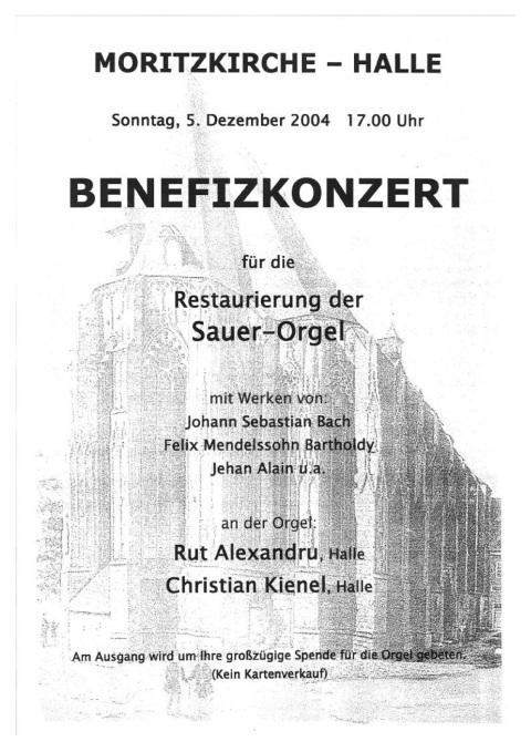 Benefizkonzert Moritzkirche 5.12.2004